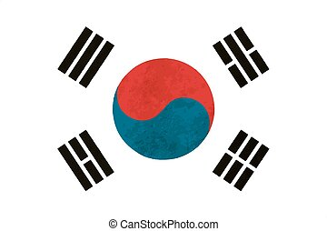 True proportions South Korea flag with texture