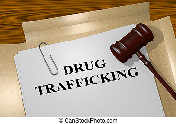 Drug Trafficking concept - 3D illustration of 'DRUG...