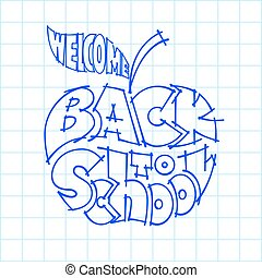 Back to school. Ink lettering inscribed in the apple shape -...