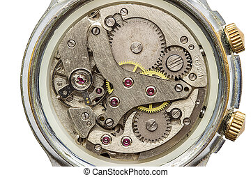 Clock mechanism macro shot, top view metaphors isolated over...