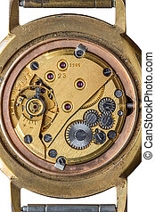 Old clock mechanism macro shot, top view isolated over white...