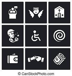 Vector Set of Church and Faith Icons Pastor, Angel,...