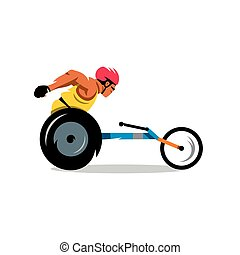 Wheelchair Racing Vector Cartoon Illustration. - The athlete...