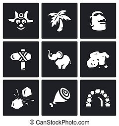 Vector Set of Papuan Icons. Savage, Tropical, Idolatry,...