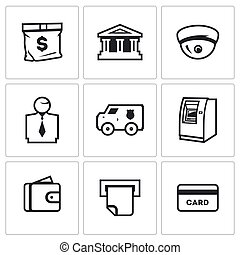 Vector Set of Banking services Icons. Money Bag, Bank...