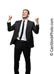 Business man celebrating a triumph with arms up - Happy...