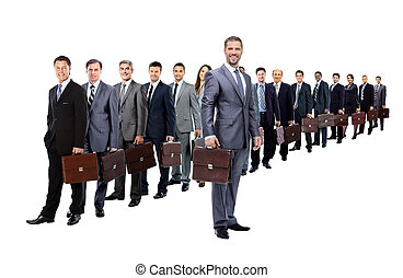 long queue of businesspeople with their briefcase - Business...