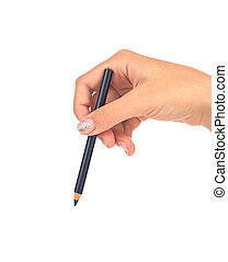 Eyebrow cosmetic Pencil in a female hand isolated on white...
