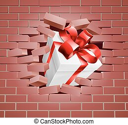 Gift Present Breaking Through Wall - A gift with red ribbon...
