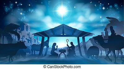 Nativity Christmas Scene - Christmas Nativity Scene of baby...