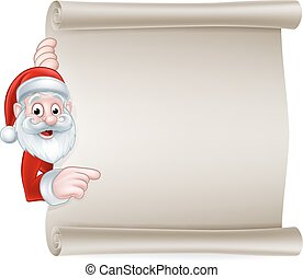 Cartoon Santa Christmas Scroll Sign - Cartoon Christmas sign...