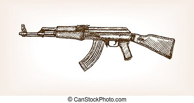 Ak rifle hand drawn sketch vector illustration - Automatic...