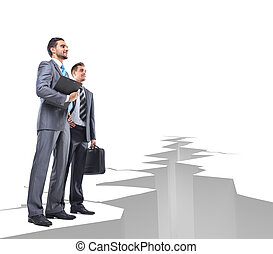 Business men overcome obstacles - Business people overcome...
