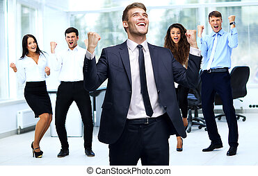 Portrait Of Happy Successful Business Group at office -...