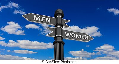 Men and women arrows on signpost - 3D rendering of...