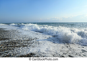 Sea coast with waves, wide angle