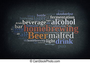 Homebrewing beer - Blackboard with word cloud on homebrewing...
