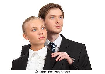 isolato, coppia, bianco, giovane