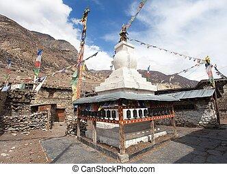 Stupa in Manang villlage, round Annapurna circuit trekking...
