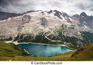 view of mount Mmarmolada, Italian Dolomites - view of...
