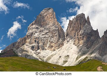 Plattkofel and Grohmannspitze, Italien European Alps -...