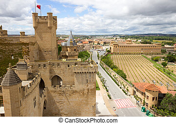 Navarra, Spain - View over the medieval village of Olite in...