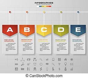 5 steps timeline infographic for business design. EPS10.