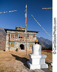 Buddhist monastery or gompa in Kharikhola village with...