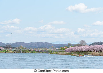 Iwate, Japan - April 19 : Tourist boat and Kitakami...