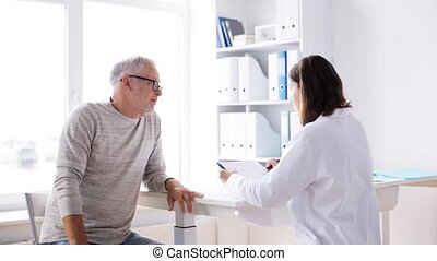 senior man and doctor meeting at hospital 36 - medicine,...