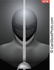 Fencing mask vector background illustration - Fencer holding...