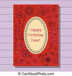 Red happy birthday dear card on wooden background - Vector...