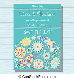 Autumn wedding invitation blue on wooden background - Vector...