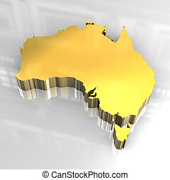 3d golden map of australia - 3d made - golden map of...
