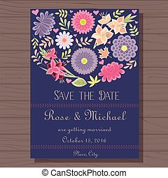Autumn wedding invitation blue vitage on wooden background -...