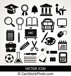 Black vector icons set of education