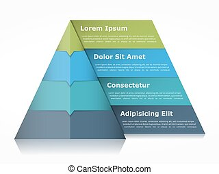 Pyramid Infographics - Pyramid chart with four elements with...