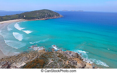 Squeaky Beach aerial view, Wilsons Promontory.