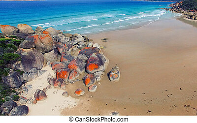 Red Rocks of Squeaky Beach, Victoria -  Australia.