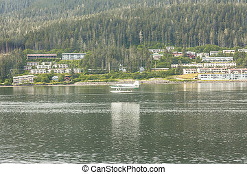 Seaplane Landing Near Juneau Alaska - Seaplane in the harbor...