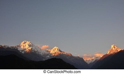 Annapurna range sunset timelapse - Timelapse of the...