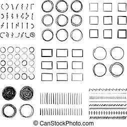Big set of hand-drawn doodle design elements Circles,...