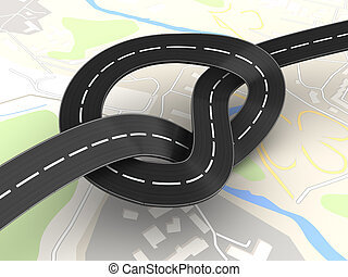 road knot - 3d illustration of road knot over city map