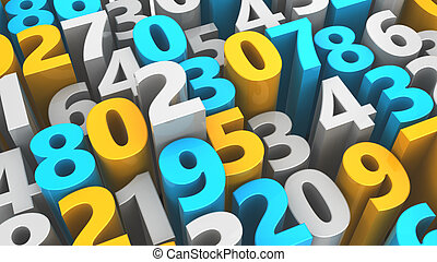 random numbers - abstract 3d illustration of random number,...