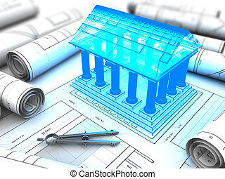 building plan - 3d illustration of building with columns...