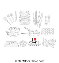 Cooking Related Clipart Objects Hand Drawn Realistic Sketch...
