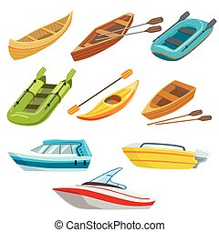 Different Types Of Boats Colorful Set Of Simple Childish...
