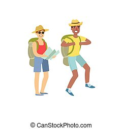 Two People Hiking With Map Simple Childish Flat Colorful...