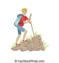 Man Climbing A Rocky Slope With Backpack