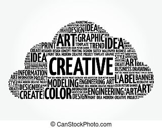 CREATIVE word cloud, creative concept - CREATIVE word cloud,...